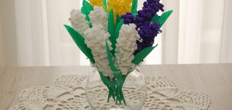 Kwiatki z bibuły – hiacynty